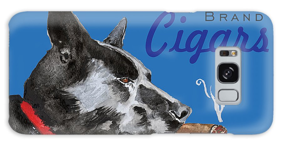 Amelia Hunter Galaxy S8 Case featuring the painting Black Dog Cigars by Amelia Hunter