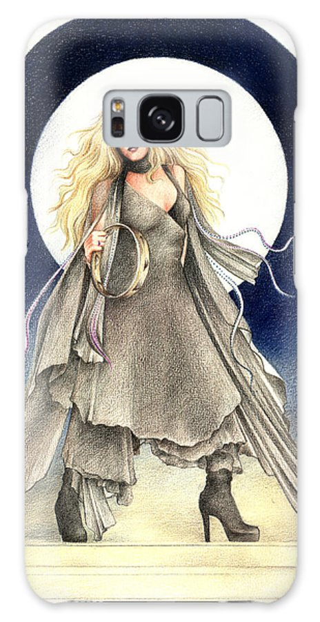 Stevie Nicks Galaxy S8 Case featuring the drawing Black Moons by Johanna Pieterman