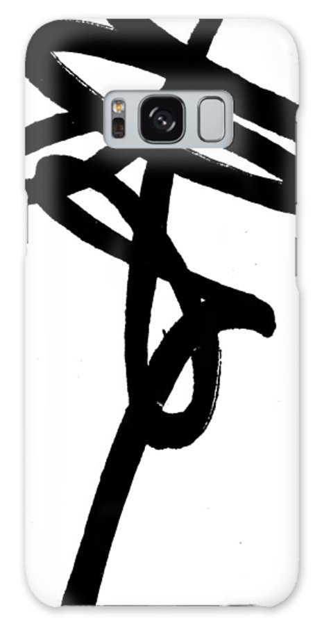 Minimal Art Galaxy S8 Case featuring the painting Black Ray -minimal Black And White Abstract By Laura Gomez - Vertical Format by Laura Gomez