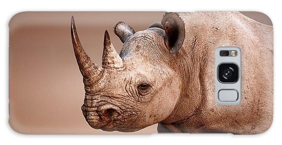 Rhinoceros Galaxy S8 Case featuring the photograph Black Rhinoceros Portrait by Johan Swanepoel