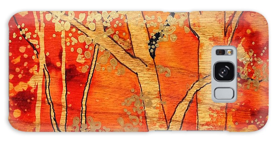 Alcohol Ink Art Galaxy S8 Case featuring the painting Blazing Autumn by Yolanda Koh