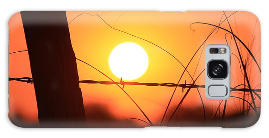 Sun Galaxy S8 Case featuring the photograph Blazing Orange Fence Line Sunset by Robert D Brozek