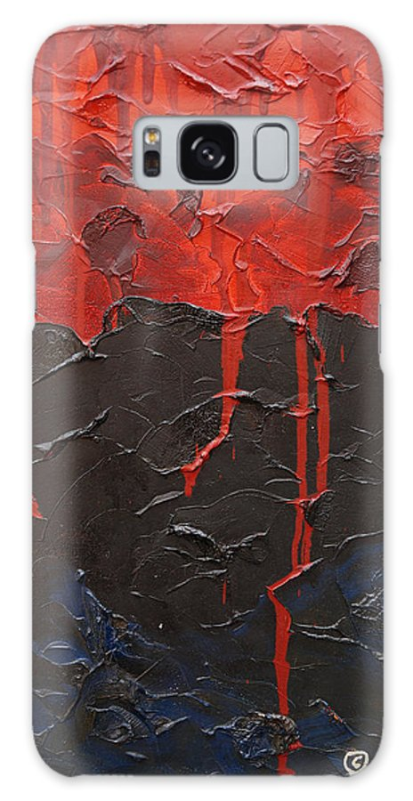 Fantasy Galaxy Case featuring the painting Bleeding Sky by Sergey Bezhinets