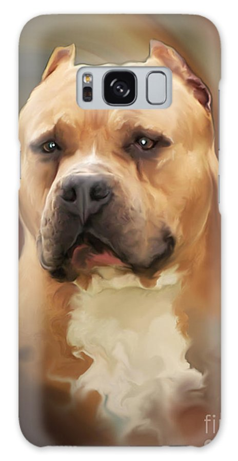 Spano Galaxy S8 Case featuring the painting Blond Pit Bull By Spano by Michael Spano