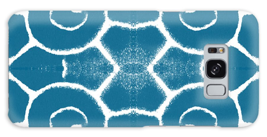 Wave Galaxy Case featuring the painting Blue and White Wave Tile- abstract art by Linda Woods