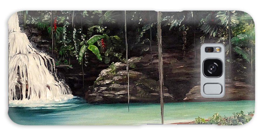 Tropical Waterfall Galaxy Case featuring the painting Blue Basin by Karin Dawn Kelshall- Best