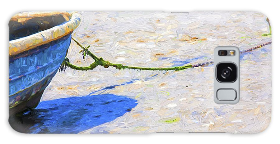 Abstract Galaxy Case featuring the photograph Blue boat on mudflat by Sheila Smart Fine Art Photography