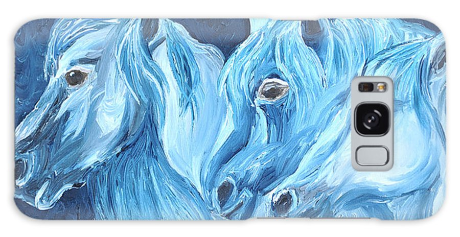 Horses Galaxy S8 Case featuring the painting Blue Boyz by Michael Lee