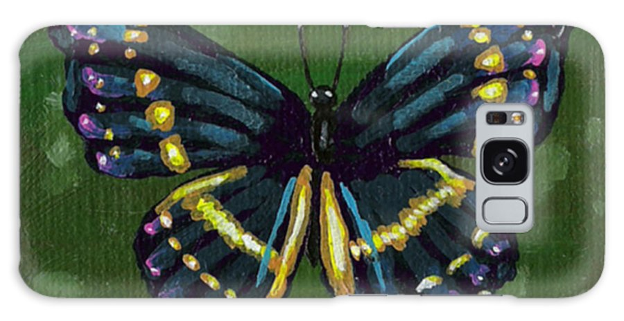 Butterfly Galaxy S8 Case featuring the painting Blue Butterfly by Bronwen Skye