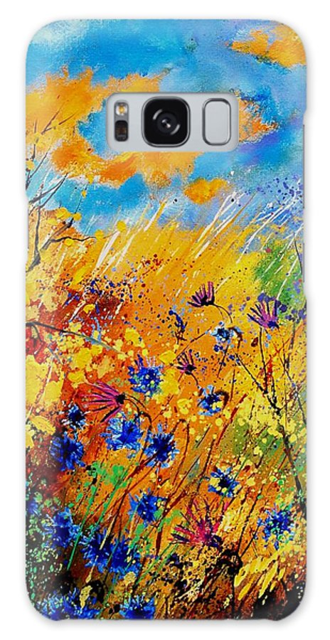 Poppies Galaxy Case featuring the painting Blue Cornflowers 450408 by Pol Ledent