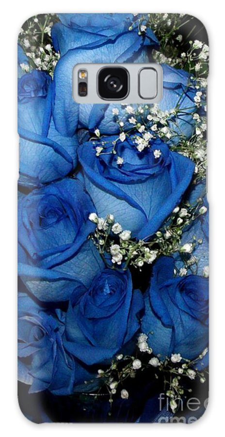 Blue Rose Galaxy S8 Case featuring the photograph Blue Fire And Ice Roses by Gail Matthews