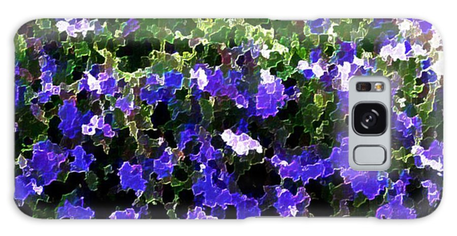 Blue.flowers.green Leaves.happiness.rest.pleasure.mosaic Galaxy Case featuring the digital art Blue Flowers On Sun by Dr Loifer Vladimir