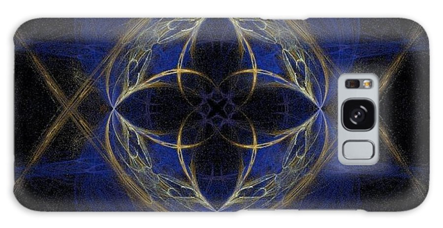 Blue Galaxy S8 Case featuring the painting Blue Fractal Cross by Bruce Nutting