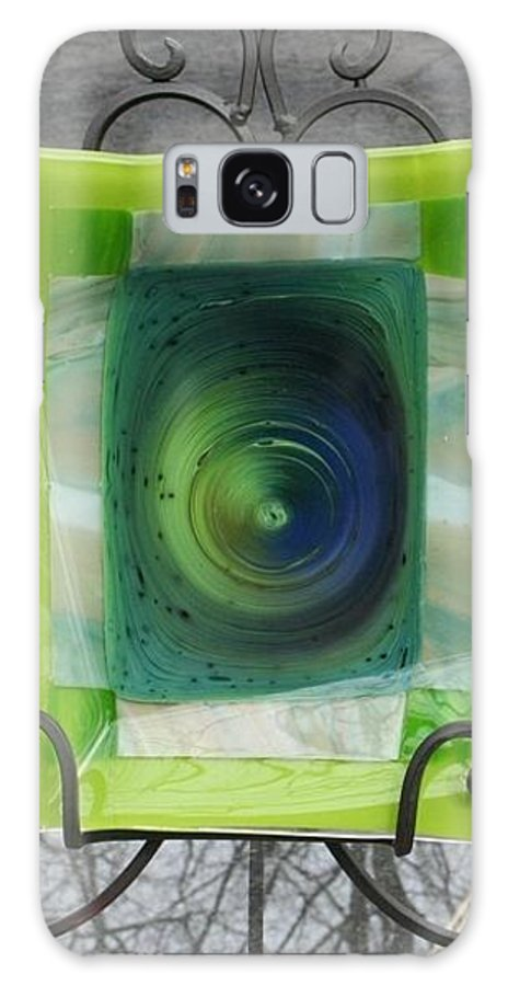 Fused Galaxy S8 Case featuring the glass art Blue Hole Platter by Jill Groves