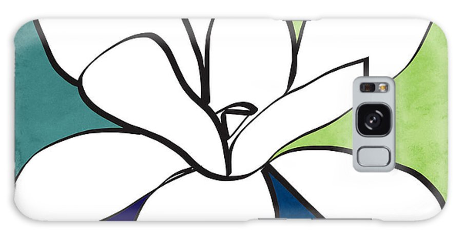 Magnolia Galaxy Case featuring the painting Blue Magnolia 1- Floral Art by Linda Woods
