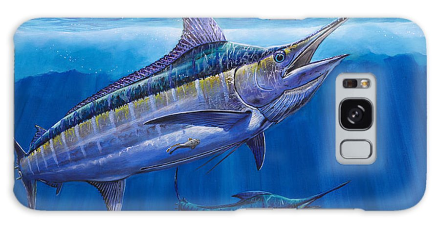 Blue Marlin Galaxy S8 Case featuring the painting Blue Marlin Bite Off001 by Carey Chen