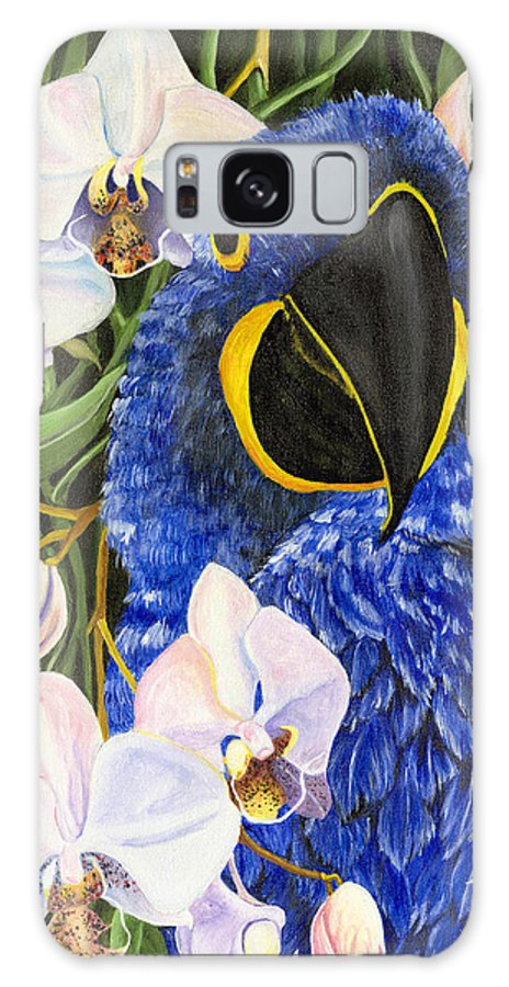 Blue Parrot Galaxy S8 Case featuring the painting Blue Parrot by Michelle Kelly