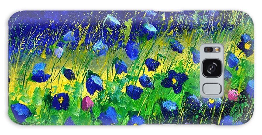 Landscape Galaxy Case featuring the painting Blue poppies 674190 by Pol Ledent