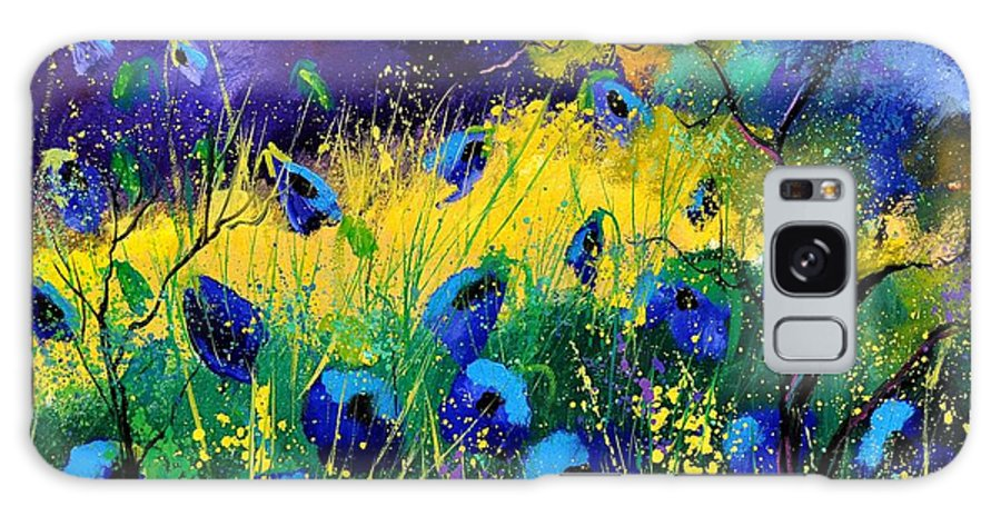 Landscape Galaxy Case featuring the painting Blue poppies 7741 by Pol Ledent