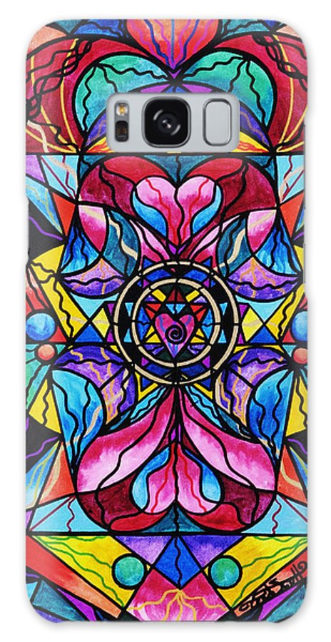 Blue Ray Healing Galaxy S8 Case featuring the painting Blue Ray Self Love Grid by Teal Eye Print Store