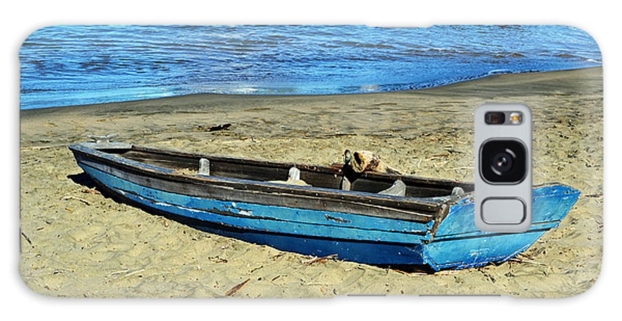 Deserted Galaxy S8 Case featuring the photograph Blue Rowboat by Holly Blunkall