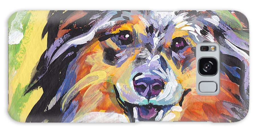 Shetland Sheepdog Galaxy S8 Case featuring the painting Blue Sheltie by Lea S