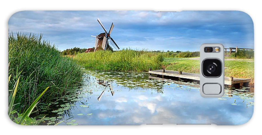 Windmill Galaxy S8 Case featuring the photograph Blue Sky And Windmill Reflected In River by Olha Rohulya