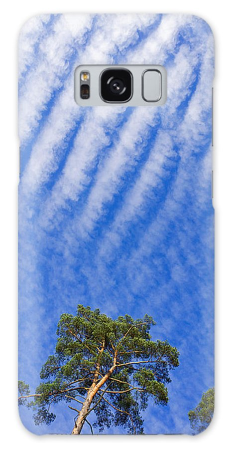 Blue Galaxy S8 Case featuring the photograph Blue Sky White Clouds Green Trees by Matthias Hauser