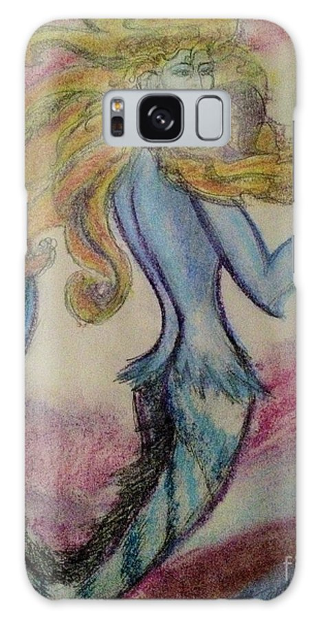 Blue Galaxy S8 Case featuring the painting Blue Spike Mermaid by Diane Phelps
