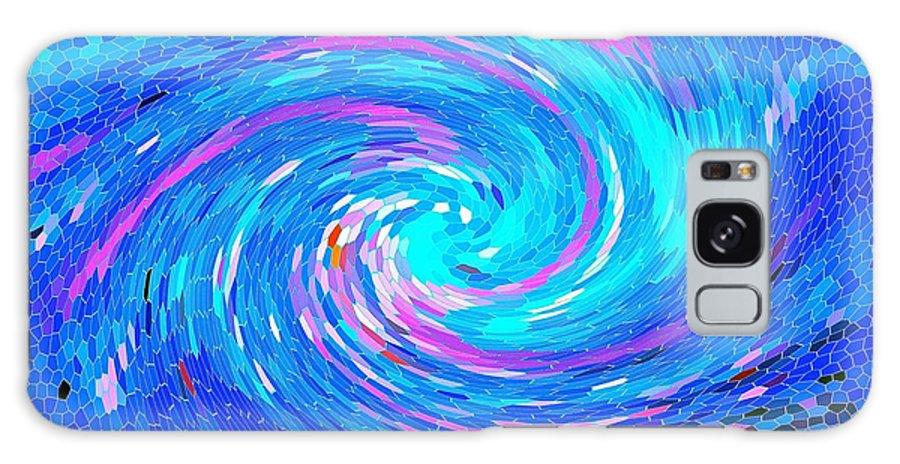 Blue Vortex Abstract Galaxy S8 Case featuring the painting Blue Vortex Abstract 2 Intense by Saundra Myles