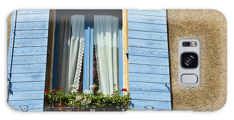 Lourmarin France Window Windows Shutter Shutters Curtain Curtain Flower Box Flowers Boxes City Cities Village Villages Cityscape Cityscapes Provence Architecture Galaxy S8 Case featuring the photograph Blue Window And Shutters by Bob Phillips