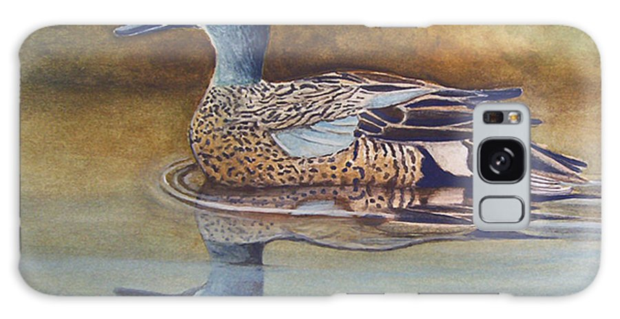 Rick Huotari Galaxy Case featuring the painting Blue Winged Teal by Rick Huotari