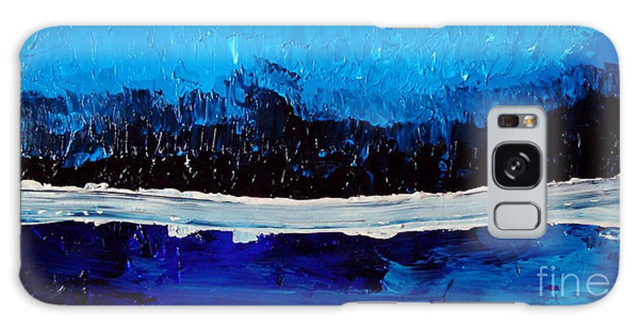 Blue Galaxy S8 Case featuring the painting Blues by Holly Picano