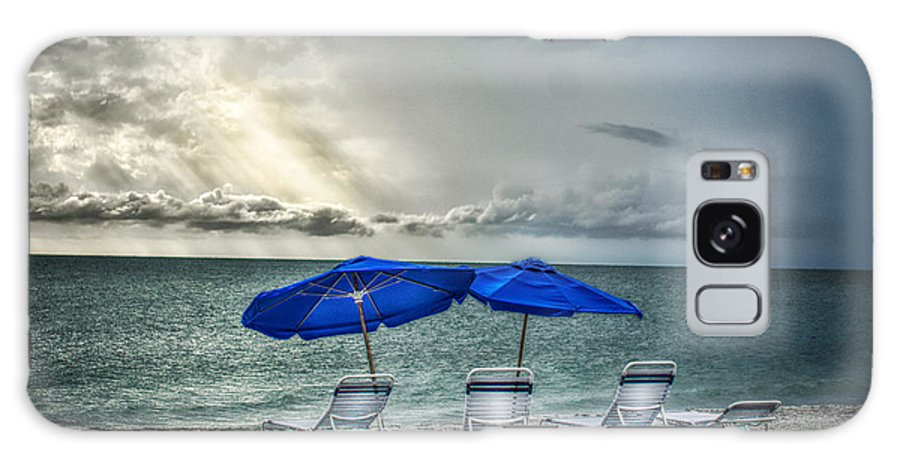 Beach Scape Galaxy S8 Case featuring the photograph Blueumbrellassanibelisland by Michael Rankin