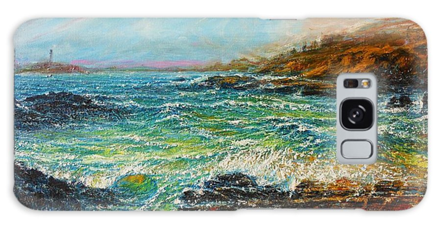 Seascape Hawaii Waves Crashing Surf Coastline Water Ocean Sea Bay Cove Sky Colors Lava Rocks Galaxy S8 Case featuring the painting Blustery Day At Keehi Lagoon by Joseph  Ruff