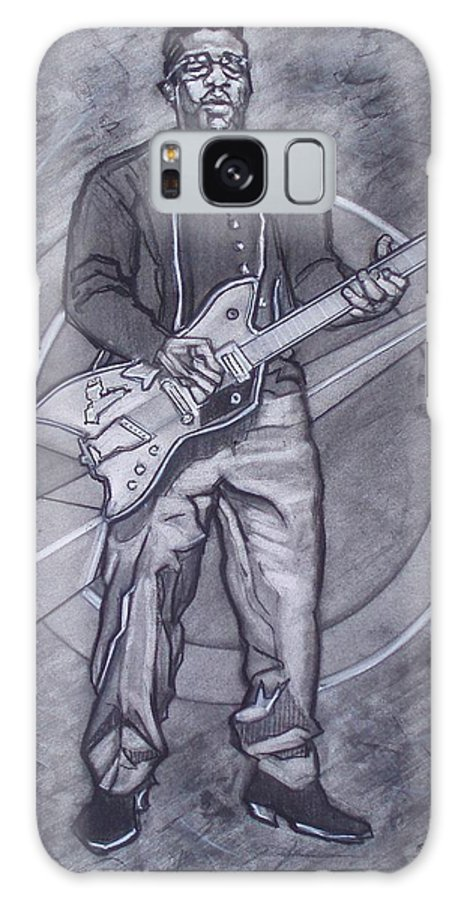 Texas;charcoal;king Of Rock;rock And Roll;music;1950s;blues;musician;funk;electric Guitar;marble;soul Galaxy Case featuring the drawing Bo Diddley - Have Guitar Will Travel by Sean Connolly