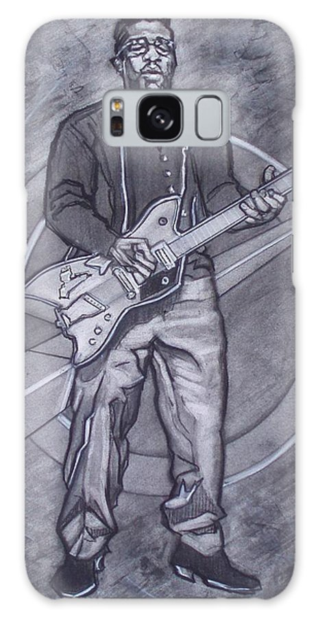 Texas;charcoal;king Of Rock;rock And Roll;music;1950s;blues;musician;funk;electric Guitar;marble;soul Galaxy S8 Case featuring the drawing Bo Diddley - Have Guitar Will Travel by Sean Connolly