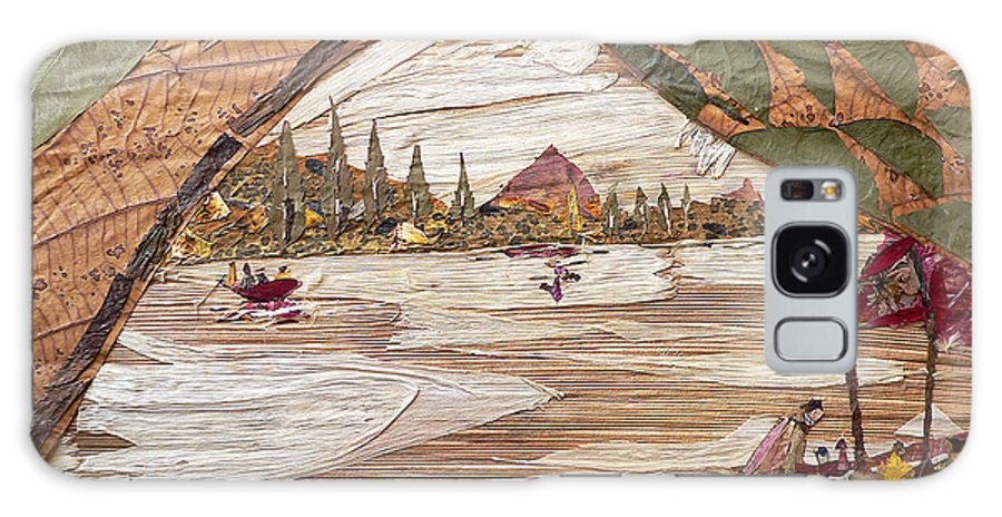 Boat Scene Galaxy Case featuring the mixed media Boat View From Boat by Basant Soni