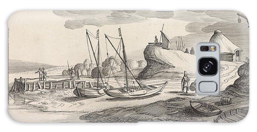 River Galaxy S8 Case featuring the drawing Boats On A River Bank, Jan Van De Velde II by Jan Van De Velde (ii)