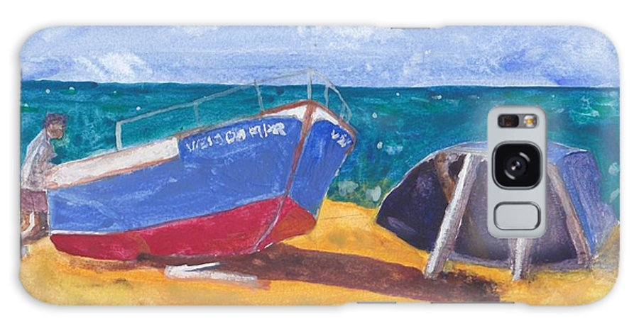 Watercolour Galaxy S8 Case featuring the painting Boats On Cascais Beach by Jeffrey Frankel