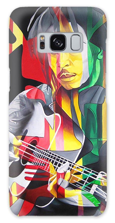 Bob Marley Galaxy S8 Case featuring the painting Bob Marley And Rasta Lion by Joshua Morton