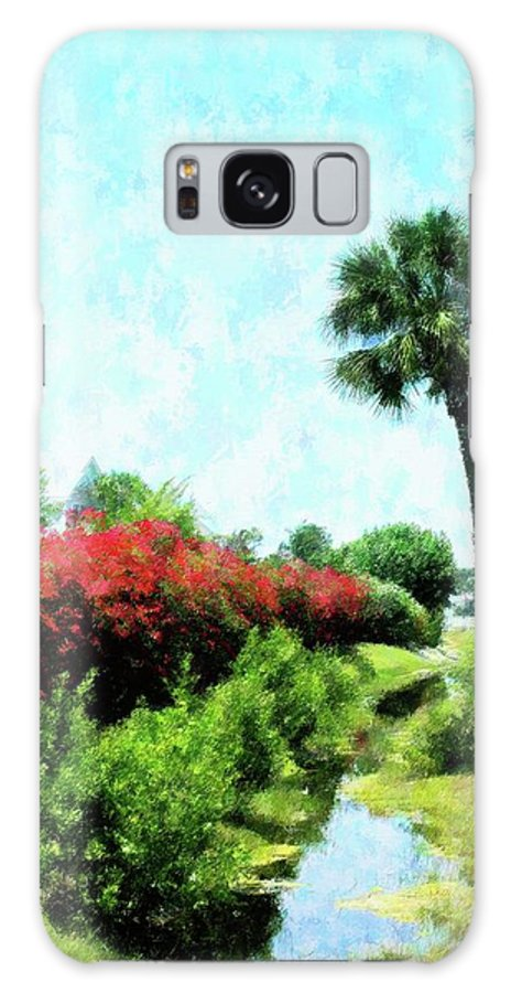 Florida Galaxy S8 Case featuring the mixed media Boca Grande Floral by Florene Welebny