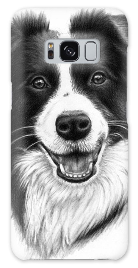 Dog Galaxy S8 Case featuring the drawing Border Collie by Nicole Zeug