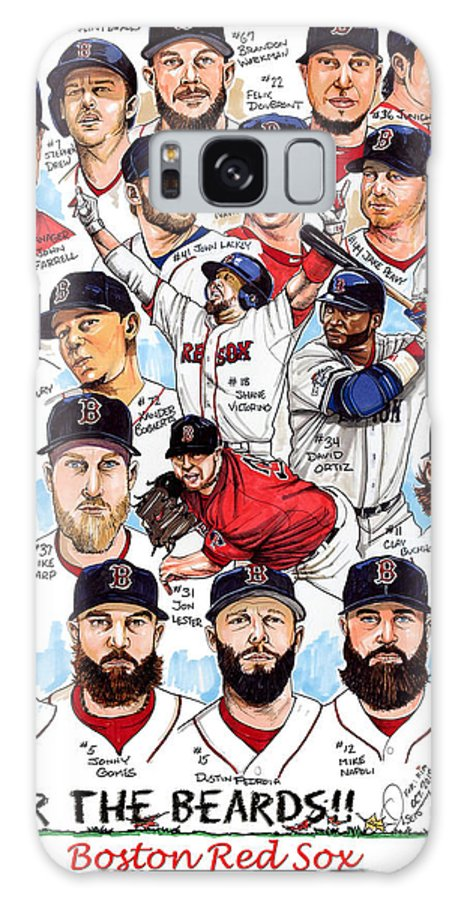 Boston Red Sox Galaxy S8 Case featuring the drawing Boston Red Sox Ws Champions by Dave Olsen