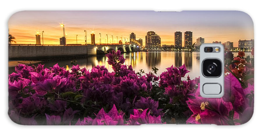 Clouds Galaxy S8 Case featuring the photograph Bougainvillea On The West Palm Beach Waterway by Debra and Dave Vanderlaan