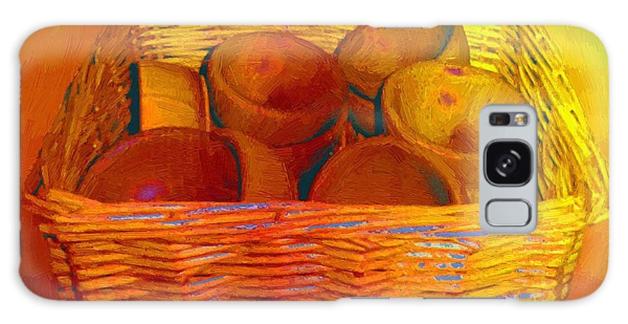Basket Galaxy S8 Case featuring the painting Bowls In Basket Moderne by RC DeWinter