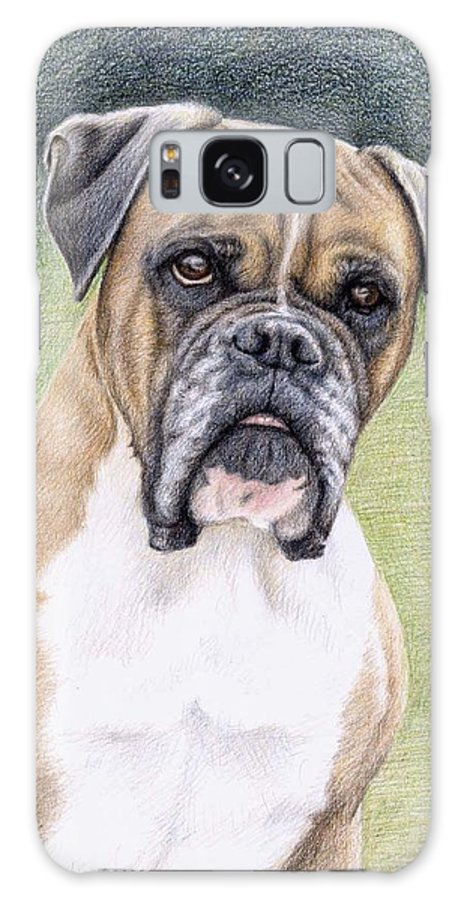 Dog Galaxy S8 Case featuring the drawing Boxer Portrait by Nicole Zeug