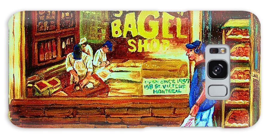 St.viateur Bagel Galaxy S8 Case featuring the painting Boy With The Steinbergs Bag by Carole Spandau