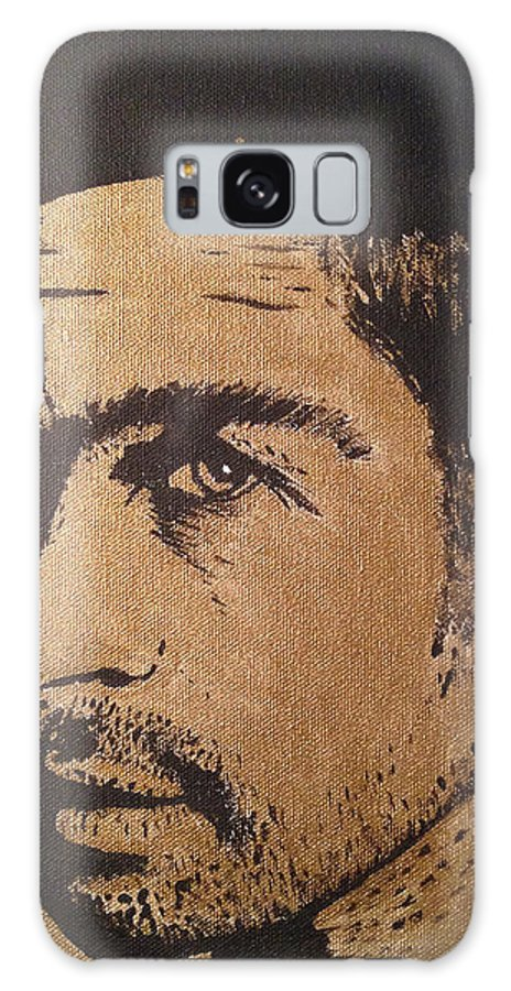 Brad Pitt Galaxy S8 Case featuring the painting Brad Pitt Black And Gold by Patricia Stone