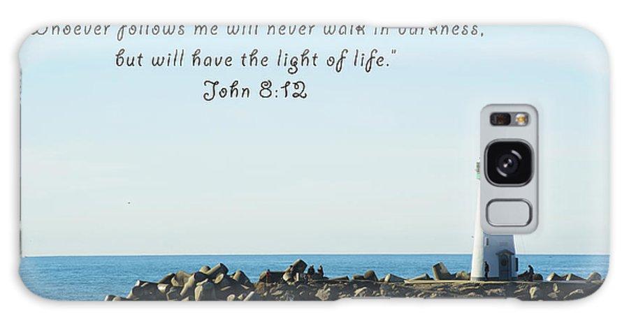 Barbara Snyder Galaxy S8 Case featuring the digital art Breakwater Lighthouse Santa Cruz With Verse by Barbara Snyder
